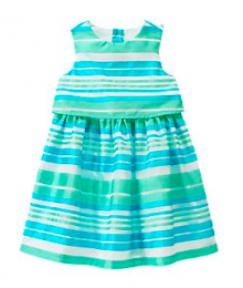 crazy8 green/whitestripe double layer dress Little Girl